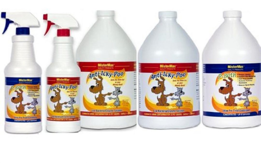 bottles of anti icky poo cleaner